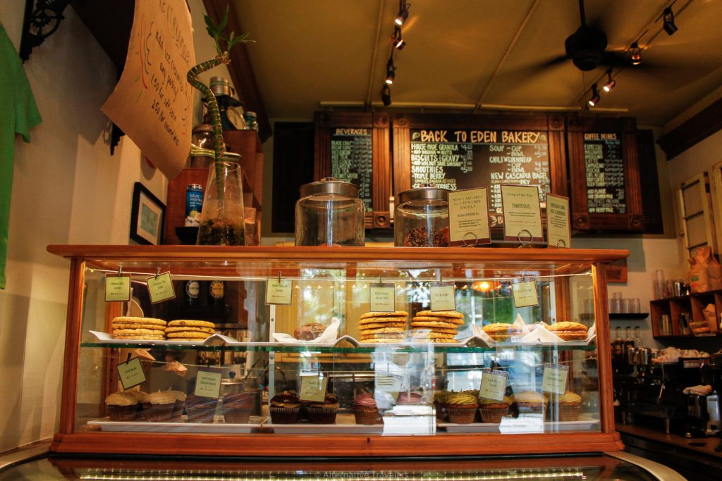 Deli counter full of options for vegan breakfast in Portland at Back to Eden Cafe