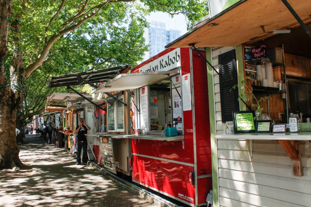 Some food carts among vegan food carts in Portland Downtown