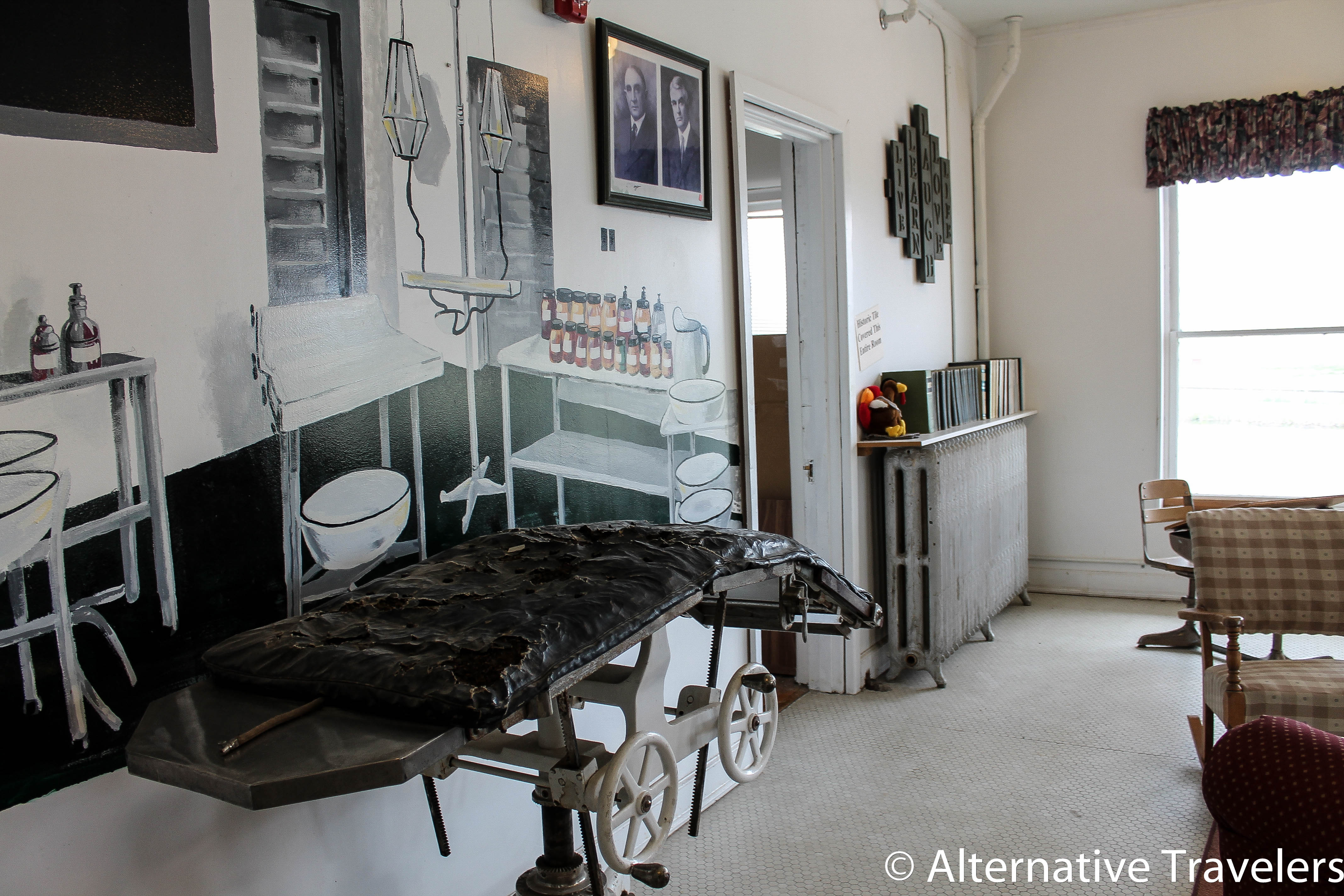 The old surgery room, complete with torn old surgery table.