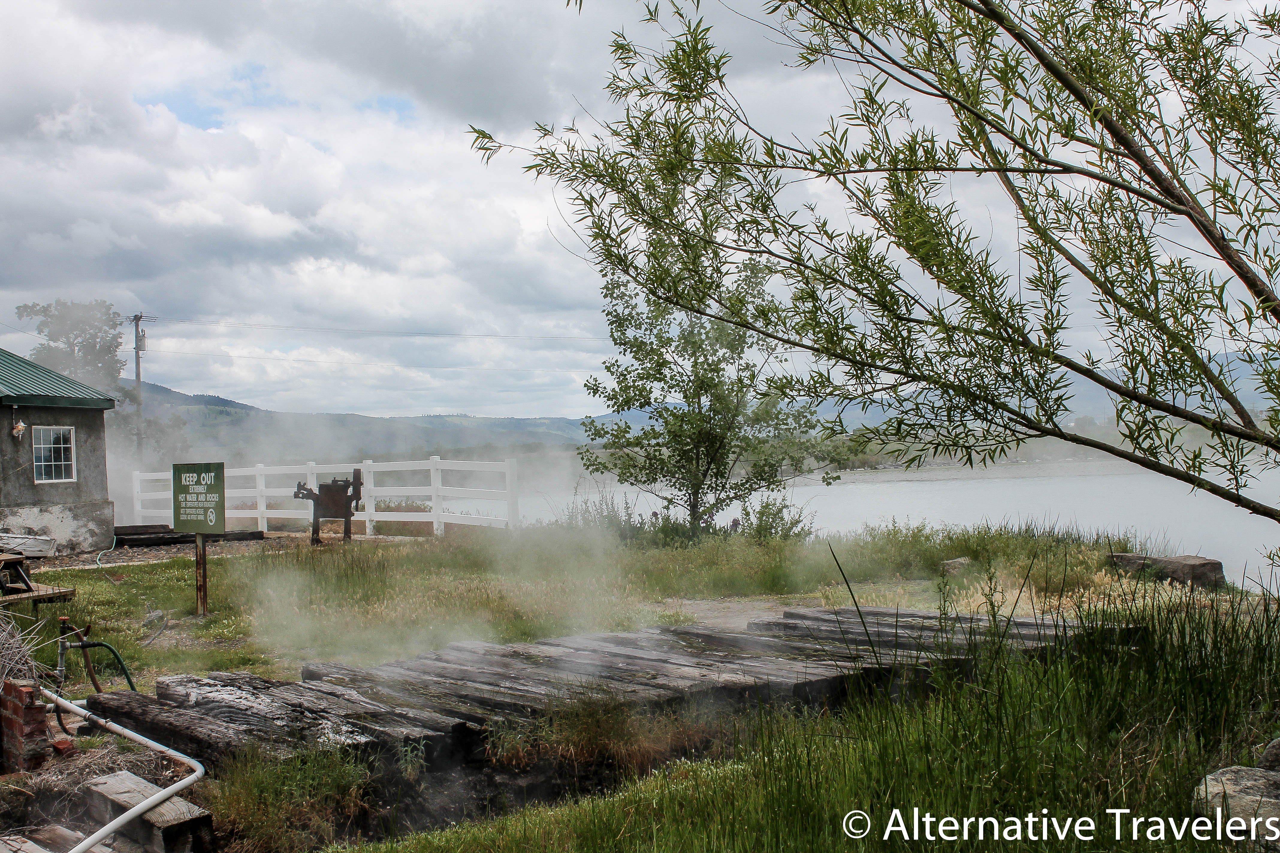 Mist rising off the hot springs.