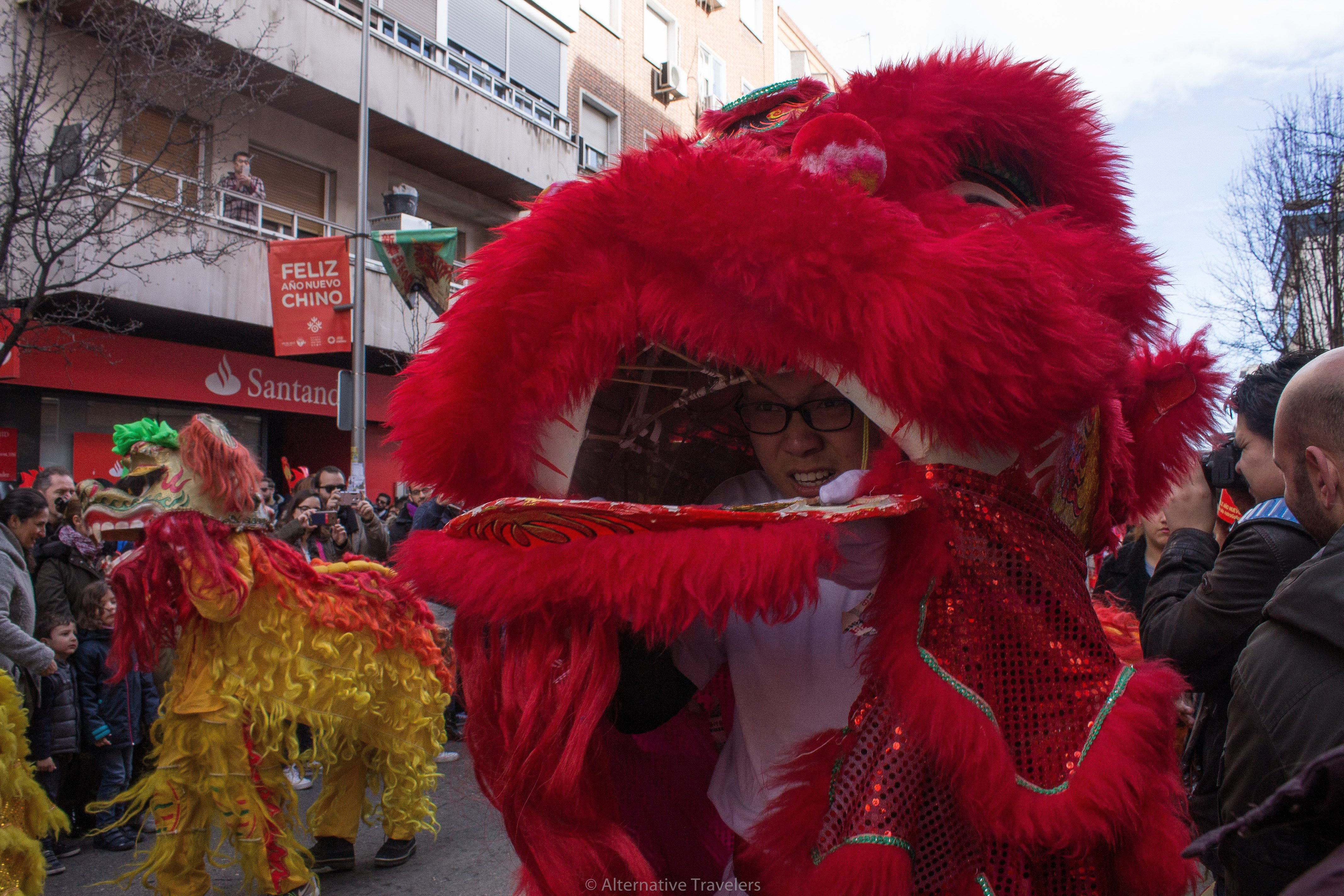 Teenager in dragon in Chinese New Year parade in Madrid