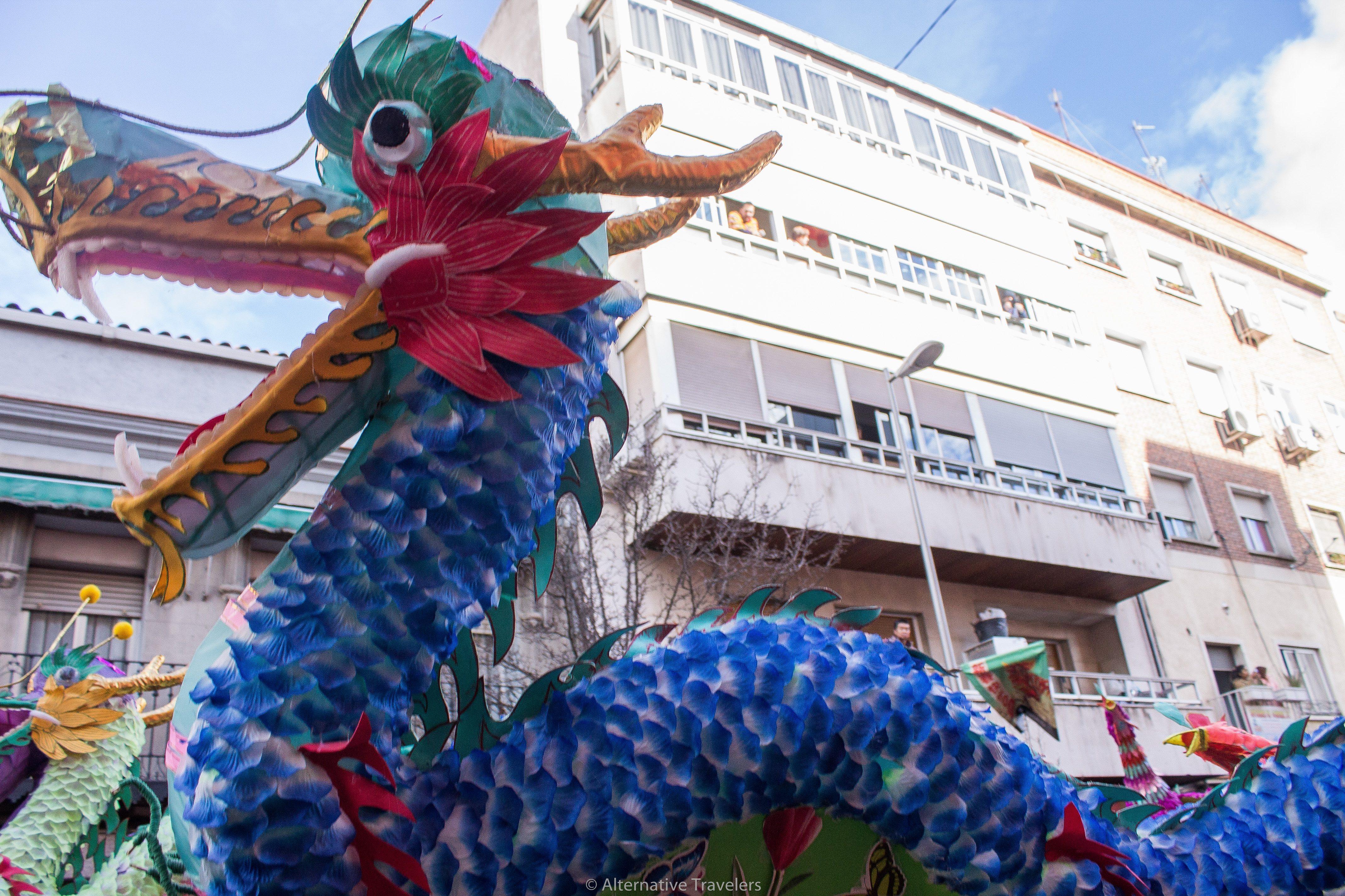 Dragon at Chinese New Year Parade in Usera, Madrid