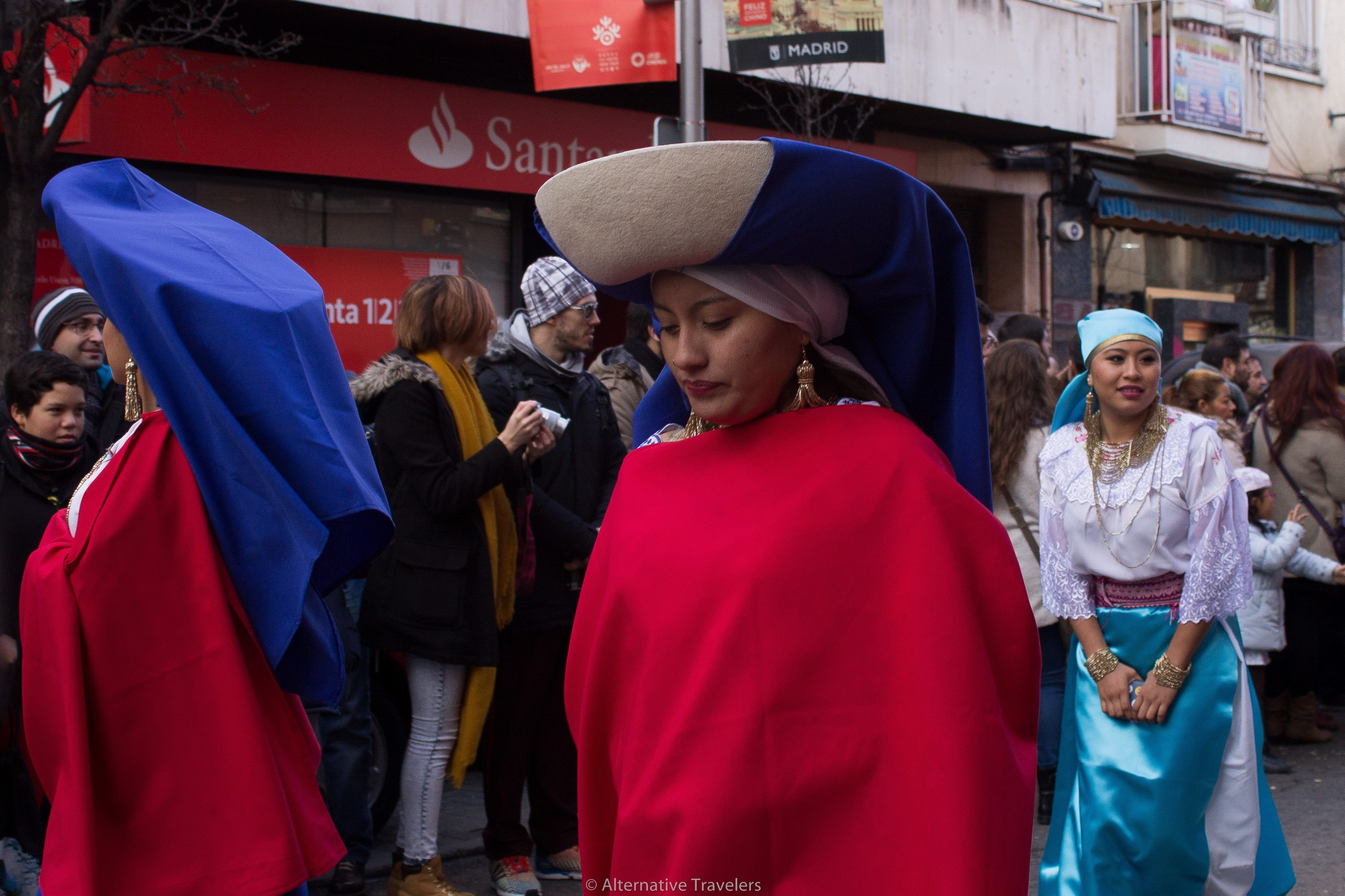Women with large hats in Chinese New Year Parade in Usera, Madrid's Chinatown