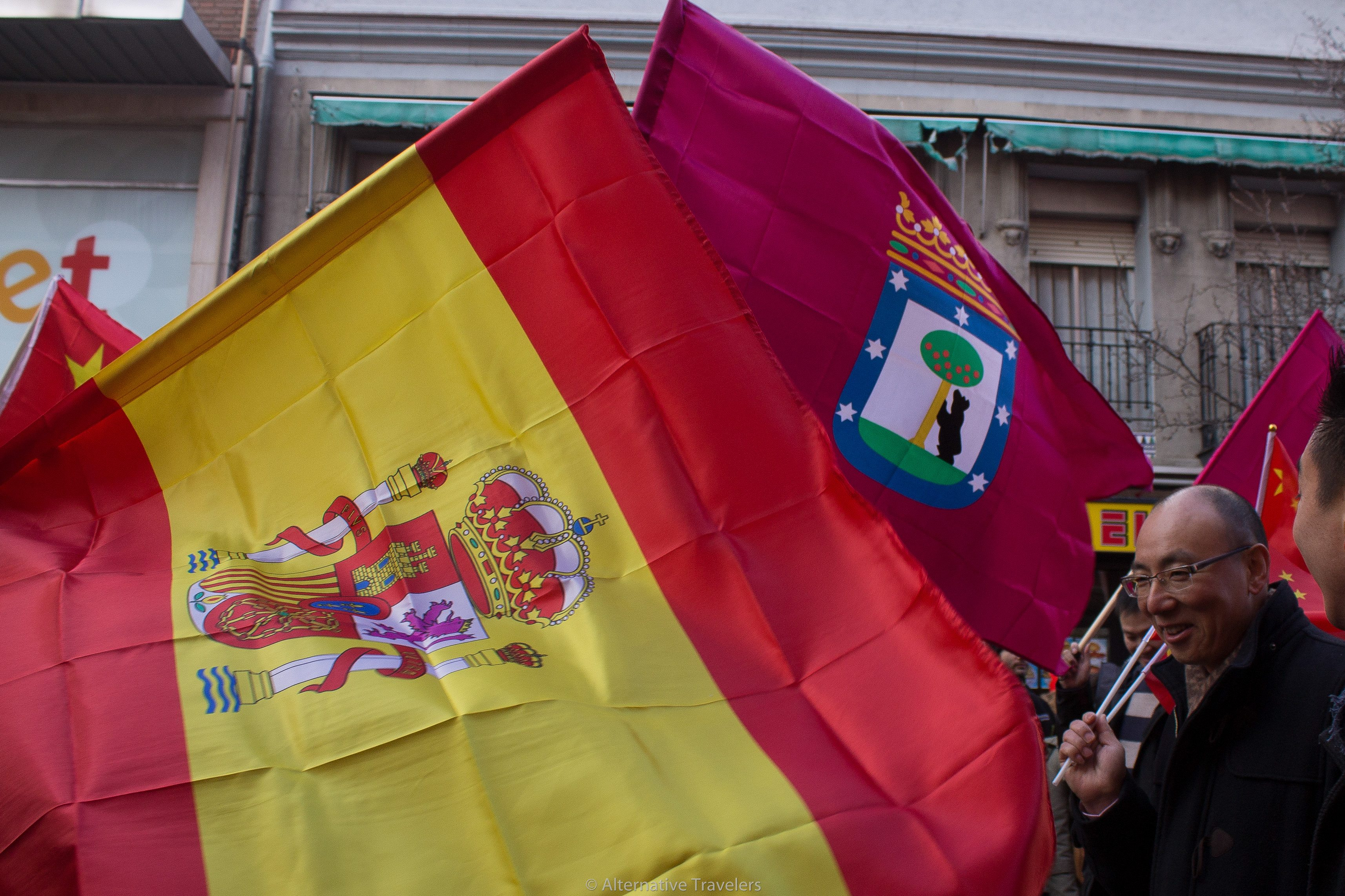 Flags of Madrid and Spain