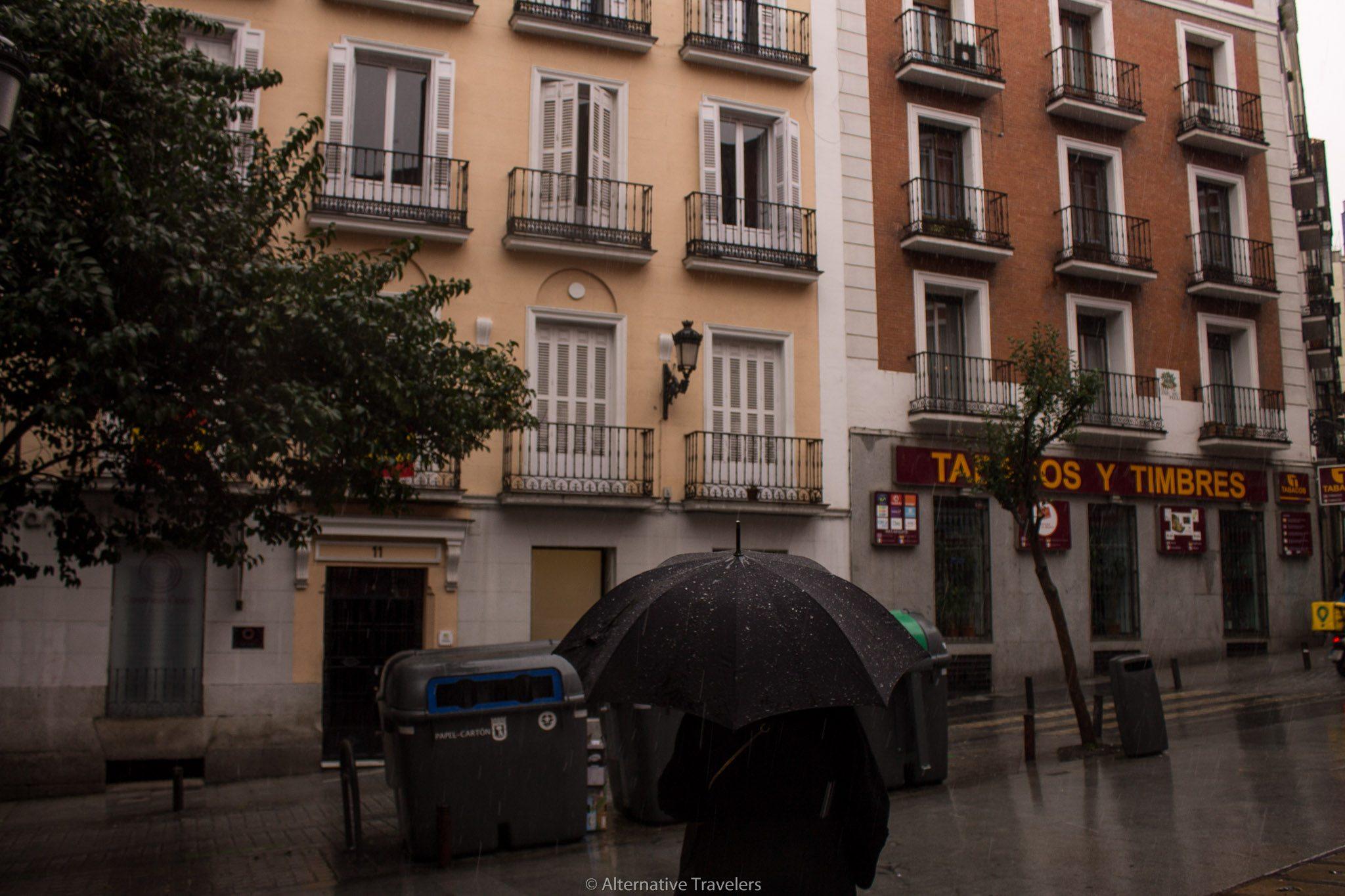 person with umbrella in Madrid rain