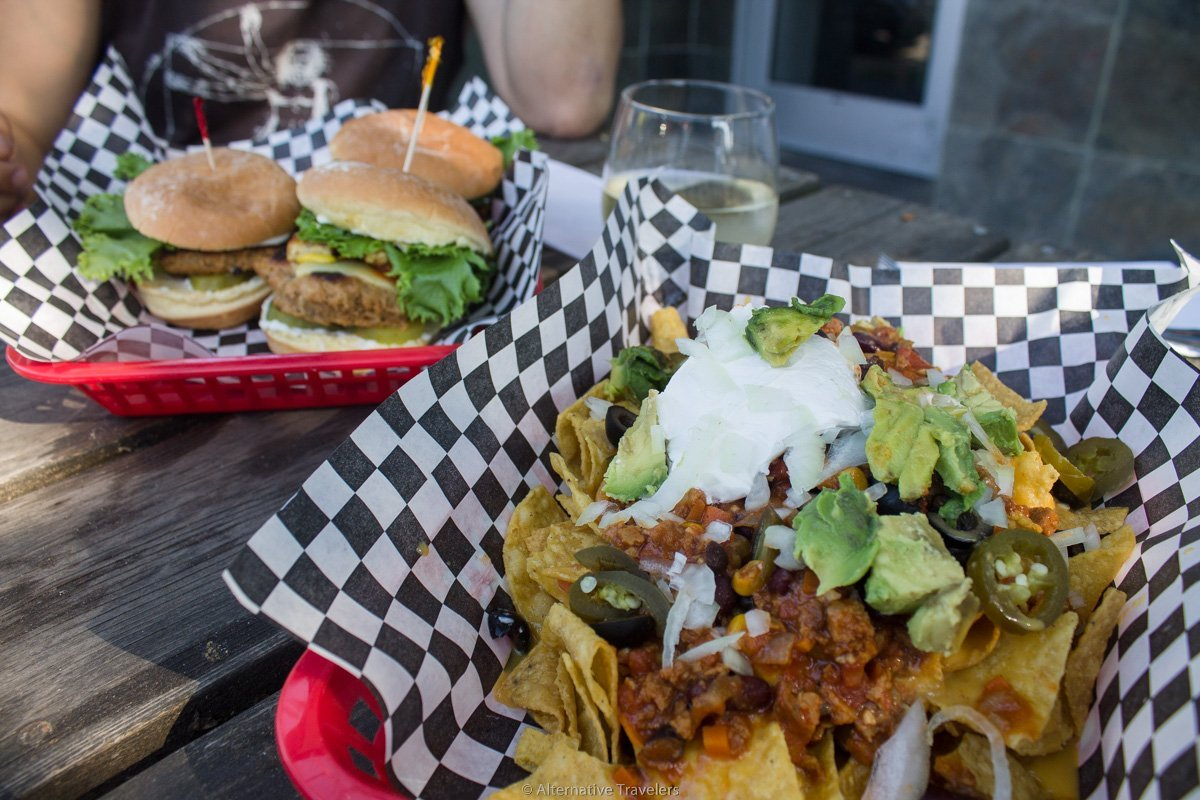 vegan sliders and nachos at DC Vegetarian in Portland