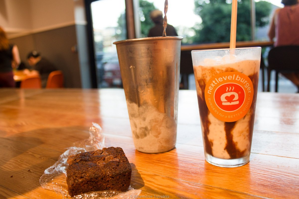 vegan brownie and milkshake at Next Level Burger in Portland