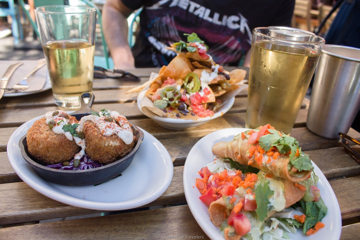 assortment of food at vegan bar in Portland called No Bones Beach Club.