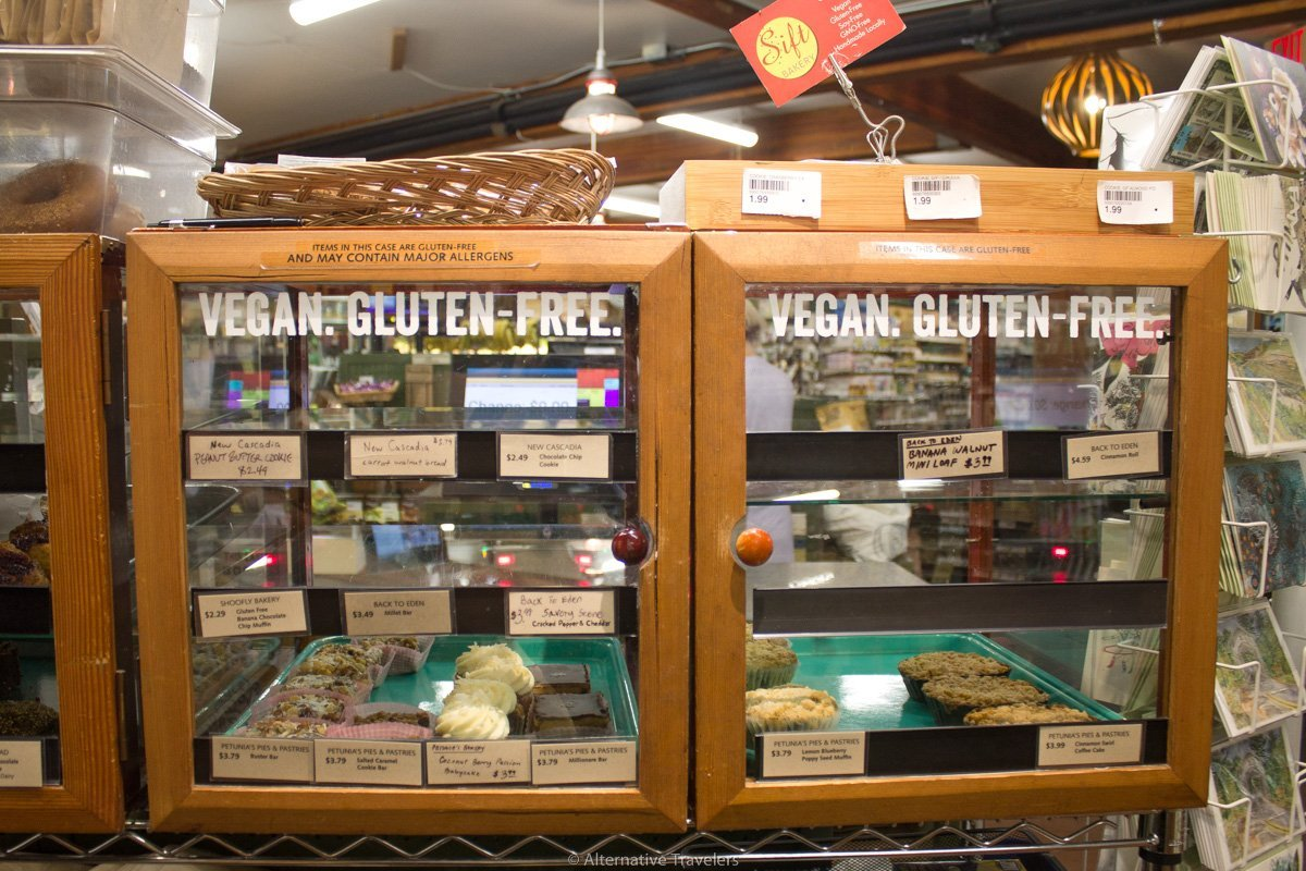 display case for local baked goods in People's co-op in Portland