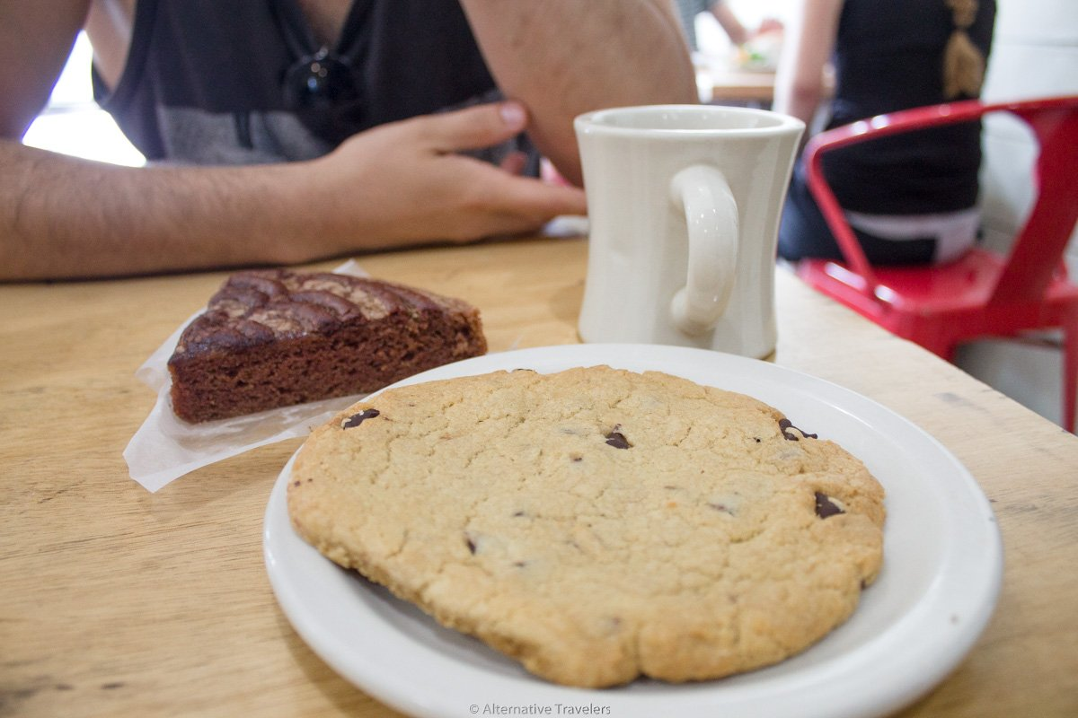 gluten free coffee cake and chocolate chip cookie at vegan mall in Portland at Sweetpea Bakery.