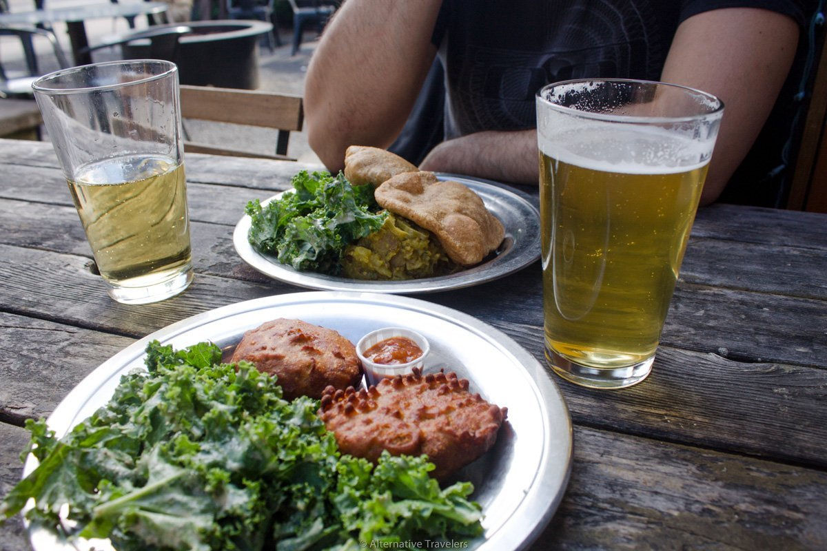 Chickpea cutlets and dosas with a couple of drinks in their outdoor patio at The Sudra in Portland.
