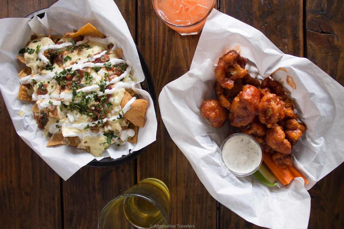 vegan nachos and cauliflower wings at White Owl Social Club in Portland