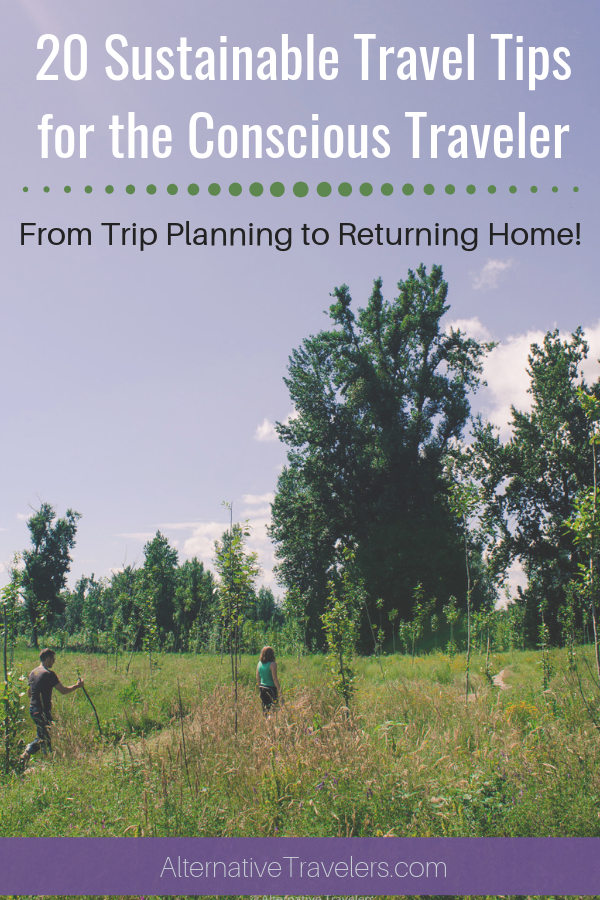"Image of person walking through a field with text ""20 sustainable travel tips for the conscious traveler: from trip planning to returning home"""