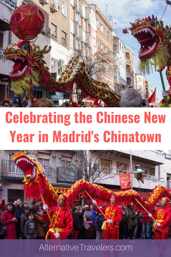 Discover celebrating the Chinese New Year in Madrid! Learn more about the history and culture of Usera, Madrid, Madrid's Chinatown.  Read reflections on the life of an immigrant in Spain after witnessing a disturbing event after the parade. #SpainTravel #Madrid #Spain #expatlife