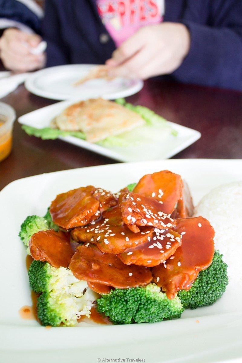 vegan sesame chicken at CocoLin in New York