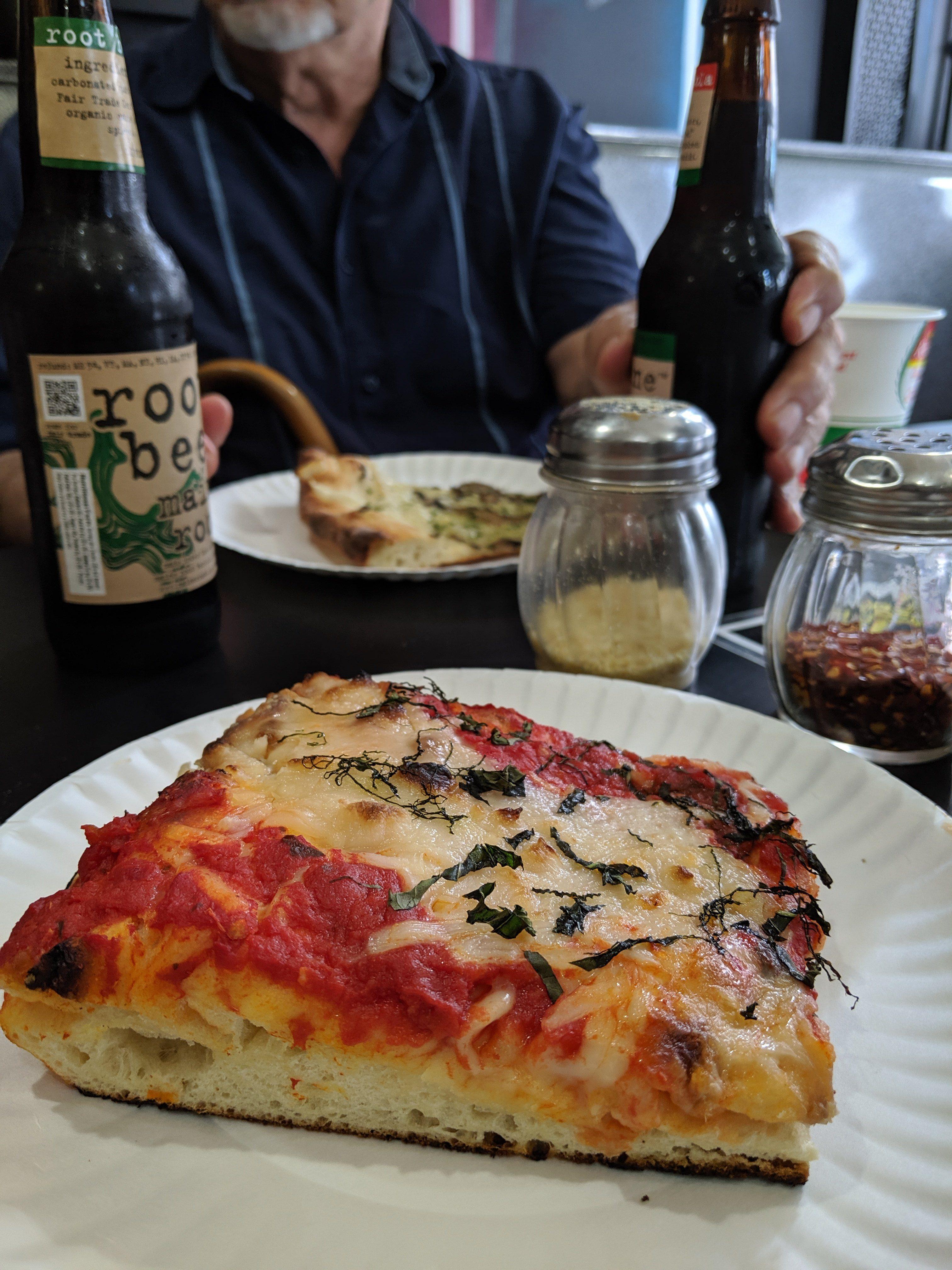 vegan pizza at Screamers Pizza in New York