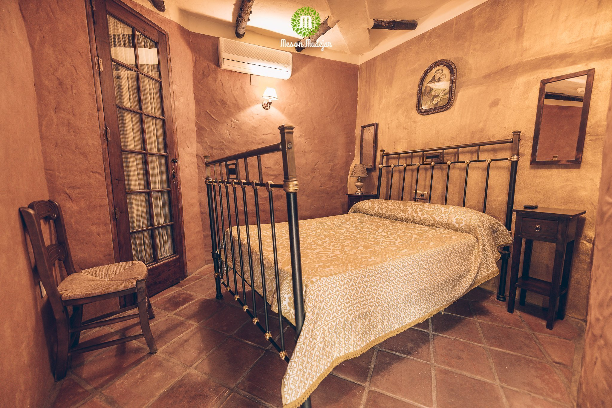 Double room at Meson Mudejar, a vegan hotel in Spain