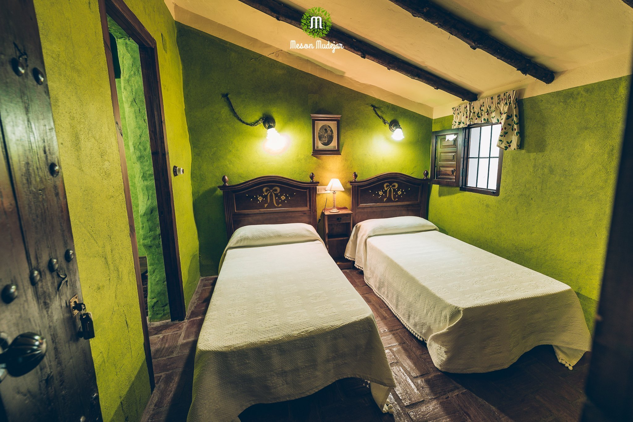 Twin room at Meson Mudejar, a vegan hotel in Spain