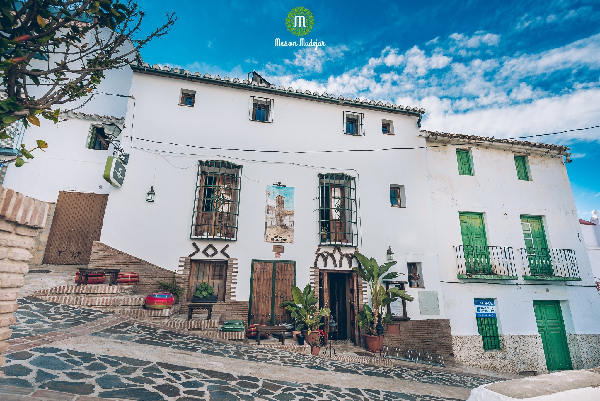 Exterior of Meson Mudéjar, a vegan hotel in Spain's Andalusia region