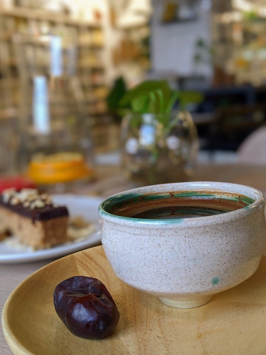 Bosnian coffee with date next to it