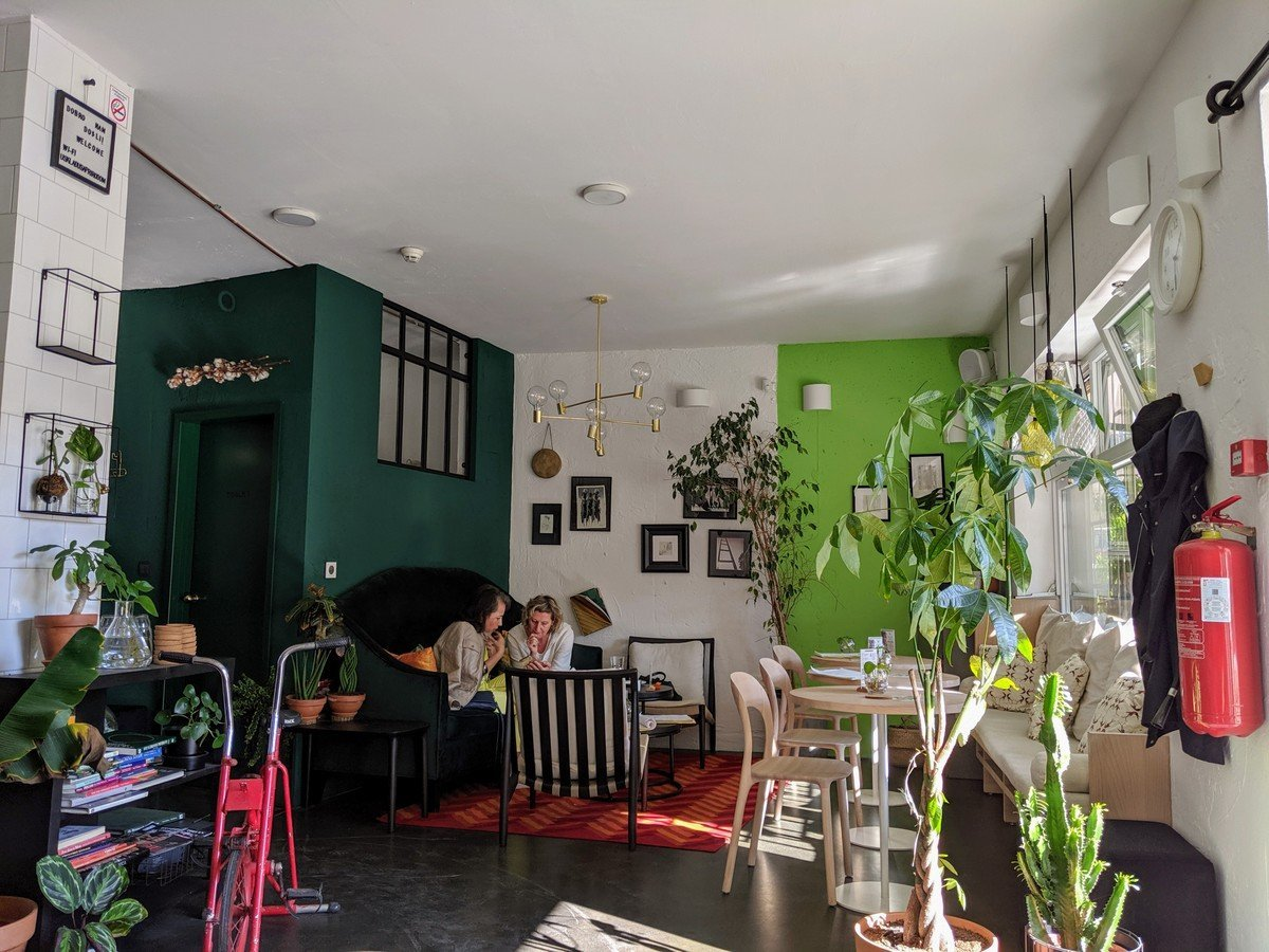 interior of zdravo, a vegan restaurant in sarajevo