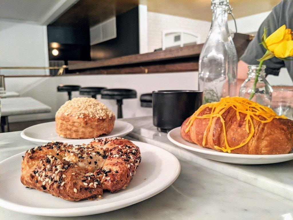 danish, croissant, and biscuit