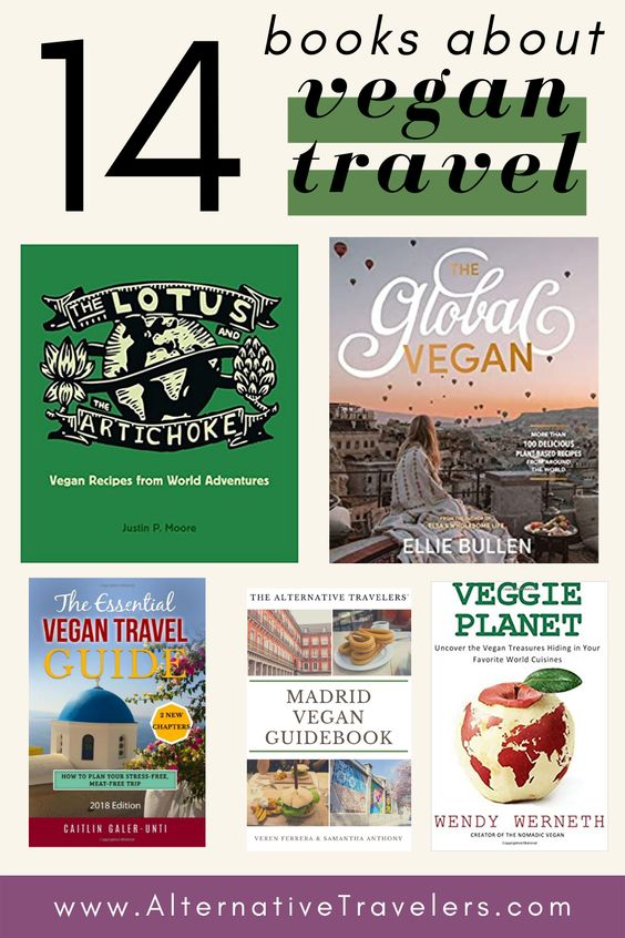 Image of a collection of vegan travel book covers