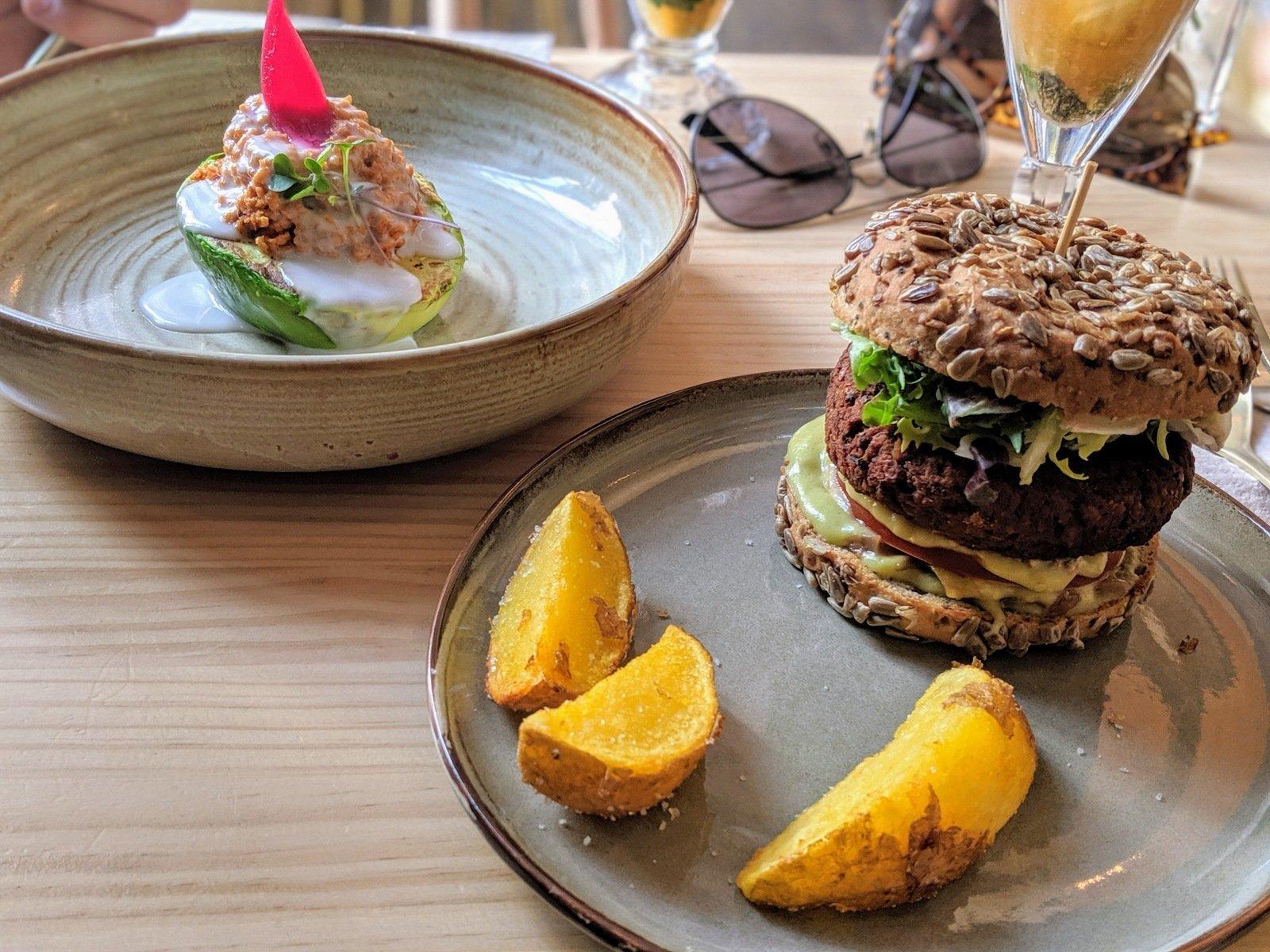 Avocado Love burger and Jack daniels avocado