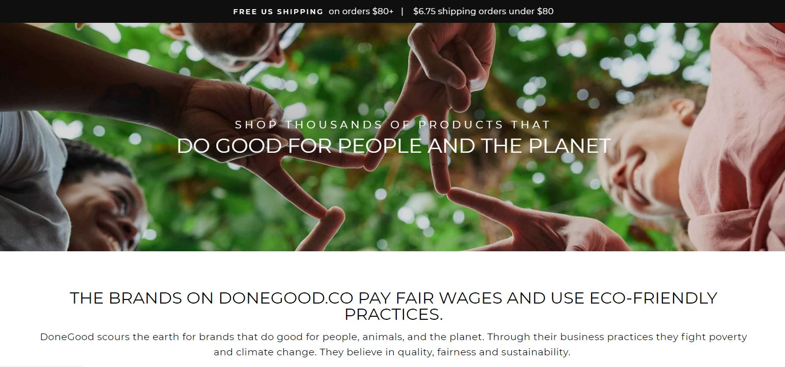 "Done Good Homepage, an ethical alternative to Amazon. screenshot with text ""Shop Thousands of products that do good for people and the planet"""