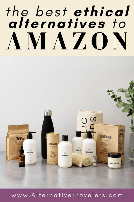 Ethical Alternatives to Amazon text with an array of Public Goods sustainable products photo.