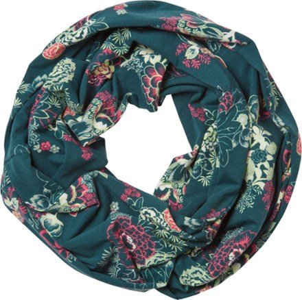 green and flowered infinity scarf
