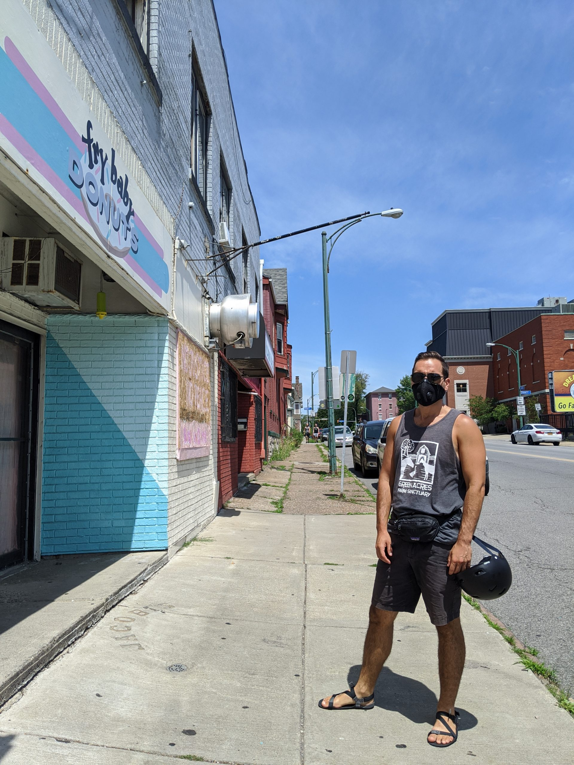 Veren outside Fry Baby with mask and fanny pack